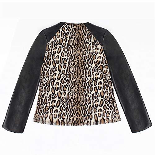 Lungo Pelliccia Collare Morwind Black Similpelle In Giacca Caldo Elegante Jacket Artificiale Donna Leopardo Capispalla Di Parka Stand Cappotto Gilet rEqOqSYw