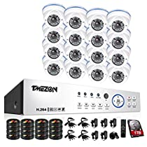 TMEZON 16CH 1080P AHD System 2MP Security Camera System - 16 x HD 1080P 2.8~12mm Varifocal Zoom Dome Camera + 1TB Hard Drive - Free APP Quick QR Code Remote Access