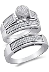 .925 Sterling Silver Plated in White Gold Rhodium Diamond His & Hers Trio 3 Three Ring Bridal Matching Engagement Wedding Ring Band Set - Round Shape Center Setting w/ Micro Pave Set Round Diamonds - (.62 cttw) - Please use drop down menu to select your desired ring sizes