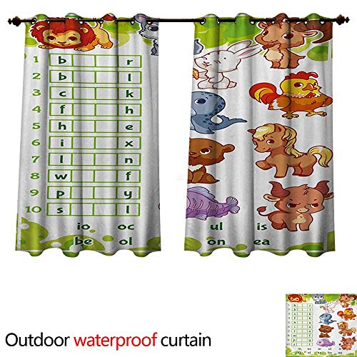 WilliamsDecor Word Search Puzzle Home Patio Outdoor Curtain Rebus Game with Animals for Preschool Kids Find Correct Part of Words W108 x L72(274cm x 183cm)