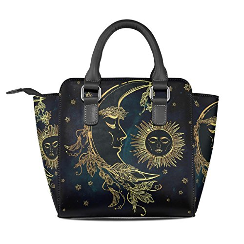 And Bags Crescent TIZORAX Leather Tote Sleeping Women's Shoulder Handbags Moon Sun BfqwgqOx