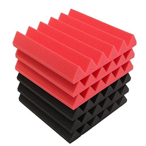 QOJA 6pcs 30x30x5cm wedge sound insulation studio foam red/black by QOJA