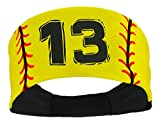MadSportsStuff Player ID Softball Stitch Headband (Yellow, 13)