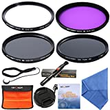 58mm Lens Filter Kit UV Filter Polarizing Filter ND Filter FLD Filter Slim Filter Set + Cleaning Kit + Filter Case + Lens Cap by K&F Concept for Canon 18-55mm Nikon DSLR Camera Lens