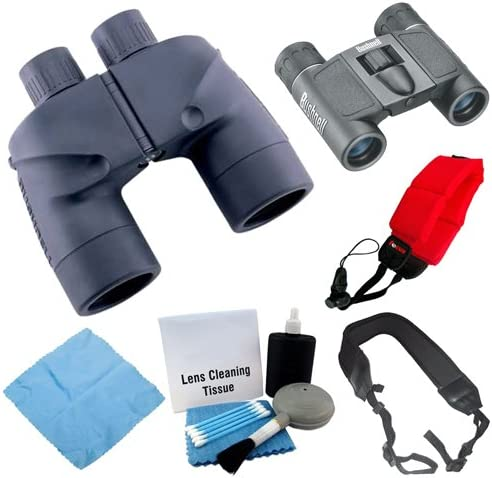 Bushnell 137501 Marine Waterproof 7x50mm and Powerview 8x21mm Binoculars with Accessory Bundle