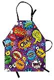 lunarable retro apron, comic book style speech bubbles effects humorous fun pop art contemporary