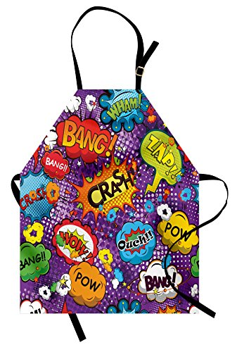 Lunarable Retro Apron, Comic Book Style Speech Bubbles Effects Humorous Fun Pop Art Contemporary Design, Unisex Kitchen Bib with Adjustable Neck for Cooking Gardening, Adult Size, Purple Orange ()