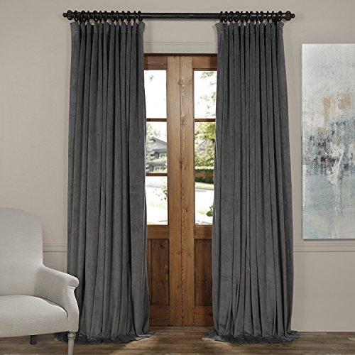 Half Price Drapes VPCH-VET1222-84 Signature Doublewide Blackout Velvet Curtain,Natural Grey,100 X 84 - Black Natural Curtain