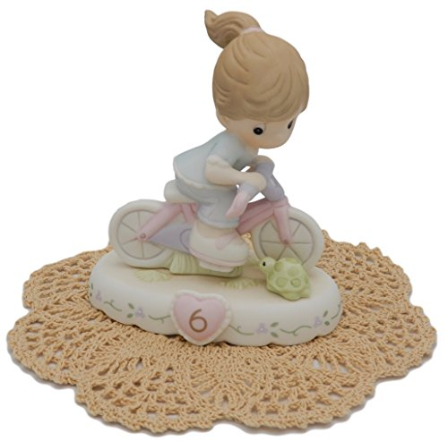 "Precious Moments ""Growing In Grace"" Girl/Female collectible figurines with Westbraid Doily (Age 6, Brunette Hair)"