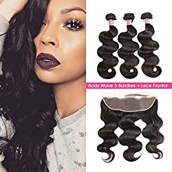 SuperNova Brazilian Body Wave Virgin Hair Weave 3 Bundles with 13x4 Ear to Ear Full Lace Frontal Closure Unprocessed Human Hair Extensions Natural Color(16 18 20+12inch)
