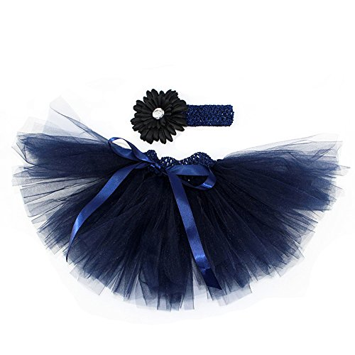 Infant Baby Girls Tutu Skirt with Flower Headband Set Newborn Photography Props( Navy)