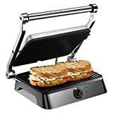 Homeleader Panini Maker, Panini Press Gourmet Sandwich Maker with Non-Stick Coated Plates, Open 180 Degrees to Fit Any Size Food, 1500-Watt, Black
