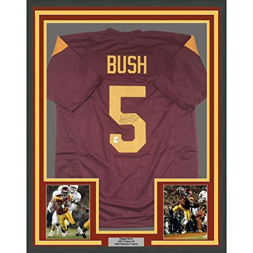Framed Autographed/Signed Reggie Bush 33x42 USC Southen Cal Maroon College Football Jersey GTSM - Reggie Jersey Bush Replica