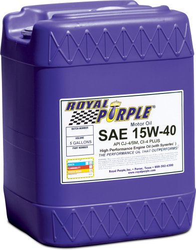 Royal Purple 05154 API-Licensed SAE 15W-40 High Performance Synthetic Motor Oil - 5 gal. by Royal Purple