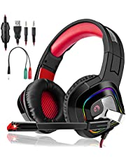 Casque gamer Gaming PS4 XBOX ONE S game Audio Stéréo Anti Bruit Léger avec Micro Réglable LED pour PC Laptop Tablette Rouge