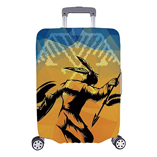 Native American Simple Luggage Cover,War Dance Ritual Against Ancient Totem Poly Effect Triangles Abstract for Home,M