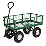 Gorilla Carts GOR400-COM Steel Garden Cart with Removable Sides, 400-Pound Capacity, Green