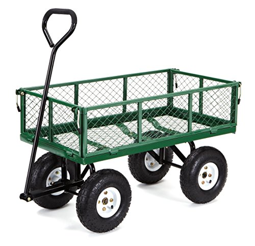 (Gorilla Carts GOR400-COM Steel Garden Cart with Removable Sides, 400-lbs. Capacity, Green)