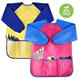 Pack of 2 Kids Art Smocks, Children Waterproof Artist Painting Aprons Baking Feeding Smock Long Sleeve with 3 Pockets for Age 2-6 Years (Paints and Brushes not Included)