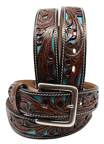 - CHALLENGER 35-36 Men's Western Rodeo Fashion Tooled Floral Genuine Leather Belt Turquoise 2652RS