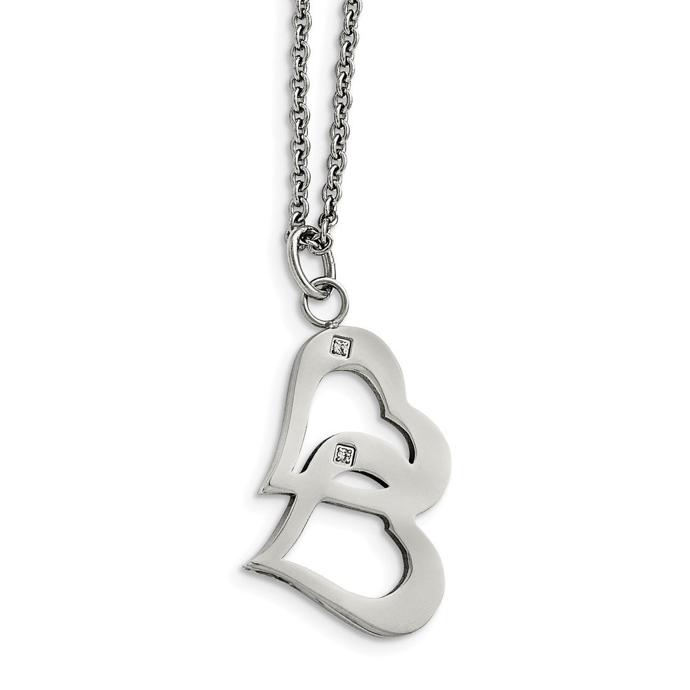 Stainless Steel Polished Hearts And CZs 2 Inch Extension Necklace 16.5 Inches