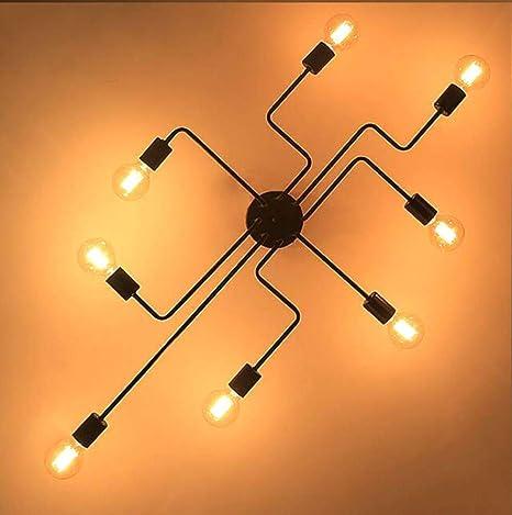 4/6/8 Cabezales Varilla múltiple Lámpara de techo de hierro ...