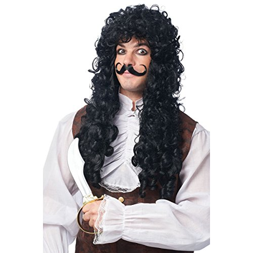 Captain Hook Wig and Mustache Costume Accessory Set