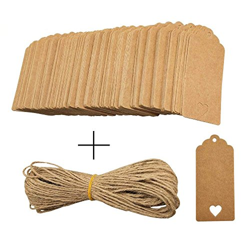 200 Pieces Hollow Heart Shaped Brown Kraft Paper Gift Tags Hang Labels with 30 Meters Natural Twine String for Christmas, Holidays, Wedding Party, Price Tags by CSPRING