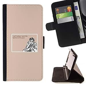 Momo Phone Case / Flip Funda de Cuero Case Cover - Trabajo duro Poor Cita divertida motivación - LG G4c Curve H522Y (G4 MINI), NOT FOR LG G4