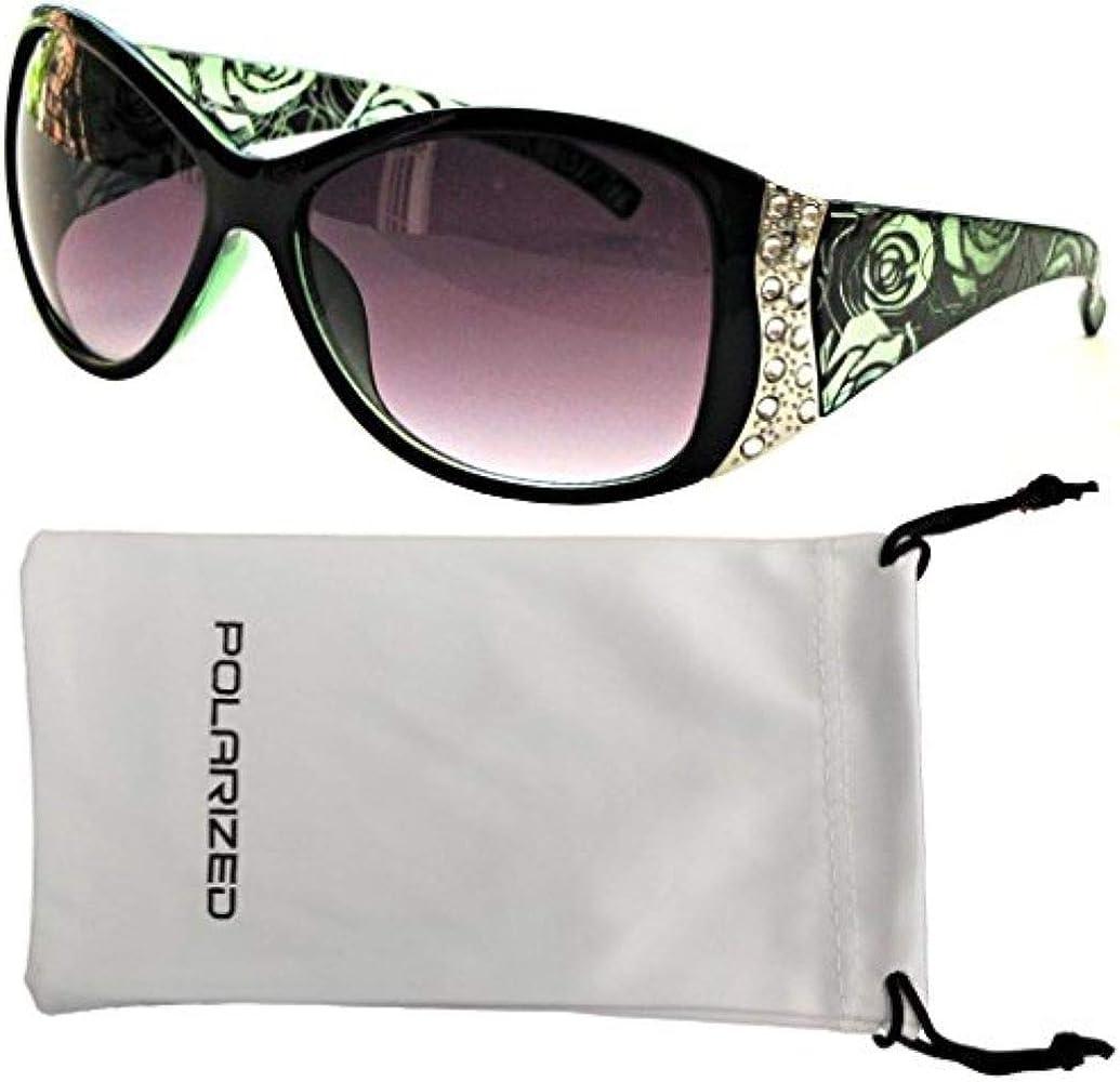 Women's Polarized Sunglasses Designer Fashion Rhinestone Vintage Floral Eyewear – Green Frame – Smoke Lens