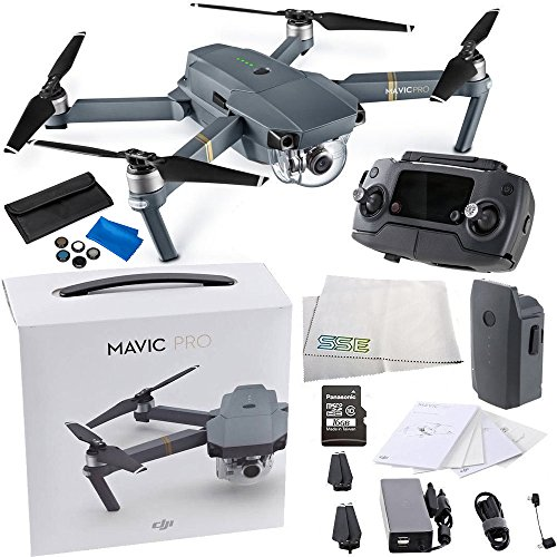 DJI Mavic Pro Collapsible Quadcopter Drone Videographer Bundle with Remote Controller, Intelligent Flight Battery, 8330 Folding Propellers, Gimbal Clamp, AC Power Cable, 16GB microSD Card + More by SSE