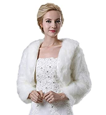 9b2d13a65 Liveinu Women's Faux Fur Bridal Jacket Shrug Bolero Wedding Dress Wrap for  Winter at Amazon Women's Coats Shop
