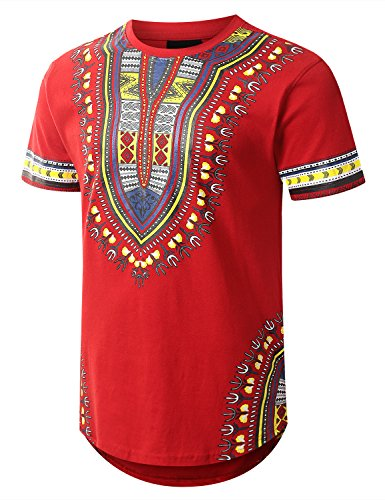 URBANCREWS Mens Hipster Hip Hop Dashiki Graphic Longline T-Shirt RED Medium by URBANCREWS (Image #1)