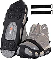 SILANON Crampons Ice Cleats for Shoes and Boots,Snow Traction Cleats for Women Men Kids Anti Slip 24 Spikes Sh