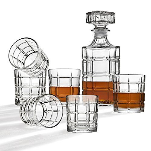 Whiskey Decanter And Glasses Bar Set, Includes Whisky Decanter And 6 Cocktail Glasses - 7 Piece Set ()