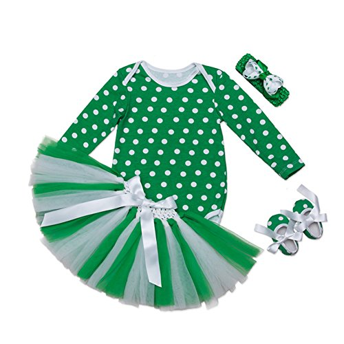 Fairy Baby Newborn Gril Polka Dots Bodysuit Tutu Skirt Baby Gift 4PCS St. Patrick's Day Outfit,0-3 Months]()