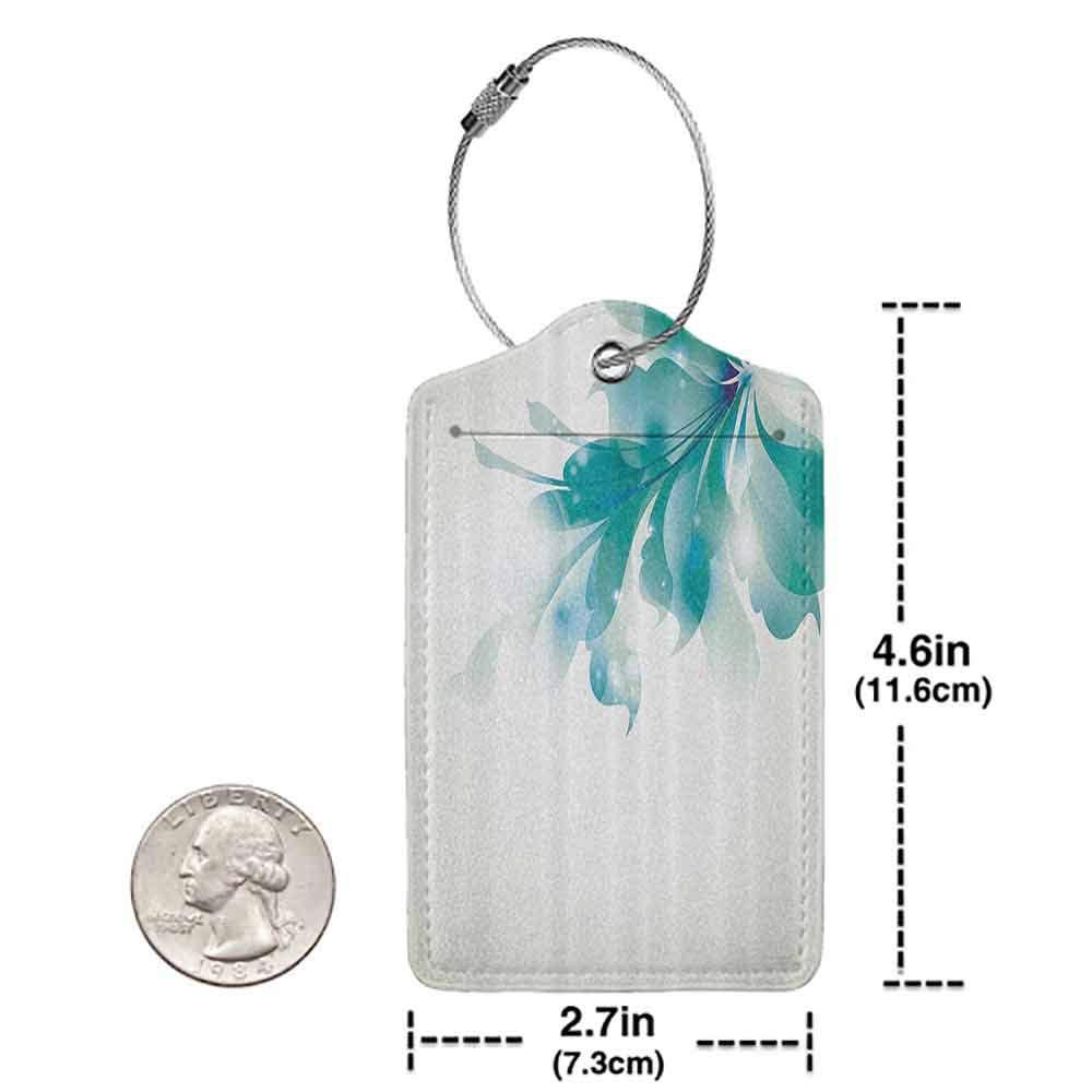 Multicolor luggage tag Abstract Decor Big Single Beautiful Abstract Blue Ombre Flowers Artwork Hanging on the suitcase Turquoise Egg Shell W2.7 x L4.6