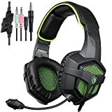 SADES SA807 Gaming headset PS4 PC Headphone with Mic Volume Control for Mac Tablet Laptop Computer Smartphones ipad ipod iphone(BlackGreen)