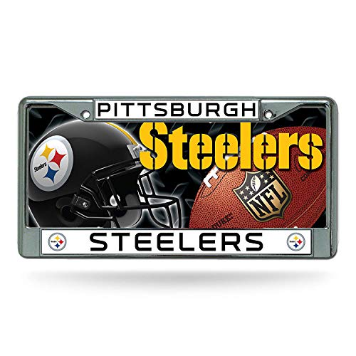 Ricos Industries Pittsburgh Steelers License Plate Tag & Chrome Frame
