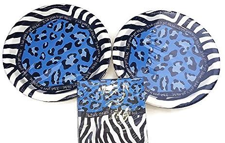 Amazon.com: Blue Animal Print Birthday Plates (16) and Napkins (16 ...