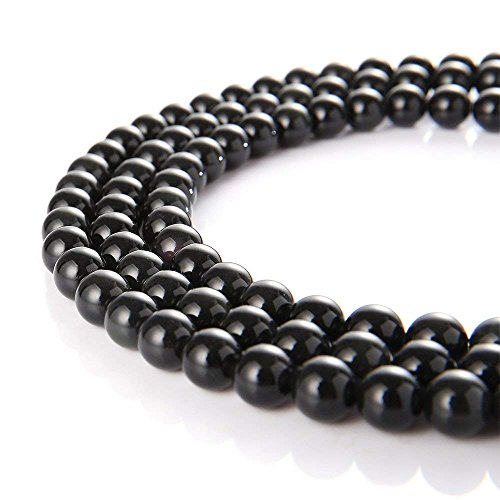 10mm Natural Black Obsidian Beads Round Loose Gemstone Beads for Jewelry Making Strand 15 Inch (38-40pcs)