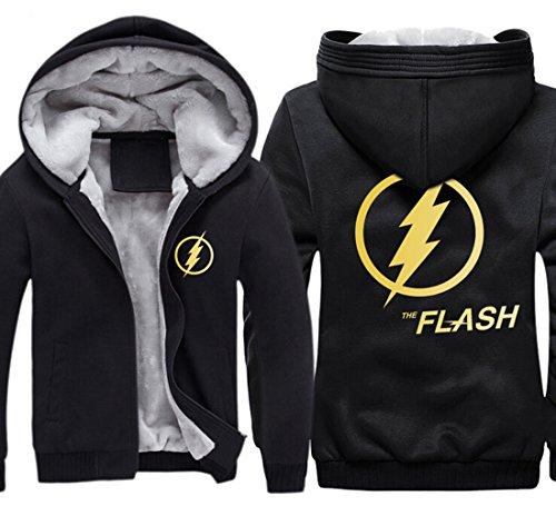 The Flash Costume Hoodie (KINOMOTO Cool Anime Flash Logo Costumes Hoodie Winter zipper Coat Thicken Fleece (XL, Yellow Flash))