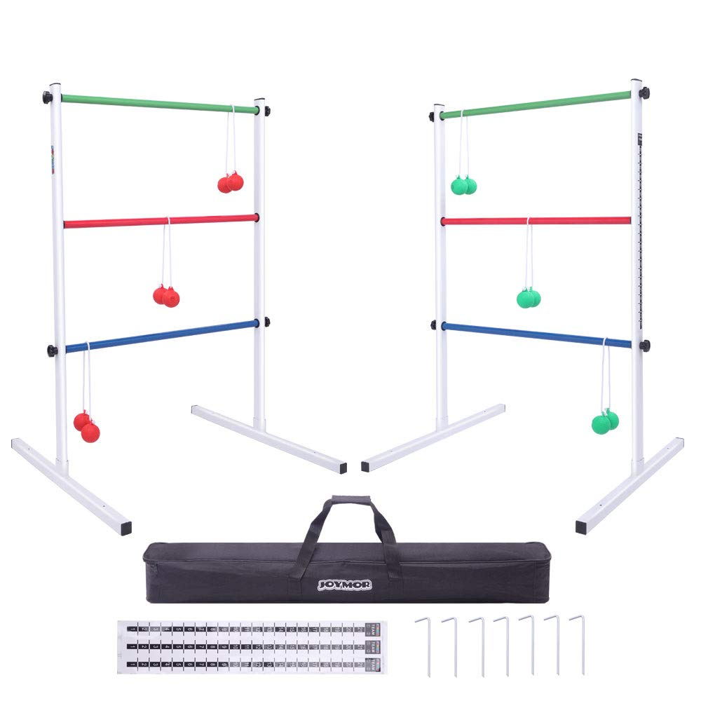 JOYMOR Upgraded Ladder Toss Game Set Metal, Ladder Ball Game Set with 6 Bolo Balls, Carrying Case and Score Trackers, for Parties Tailgates Camping by JOYMOR