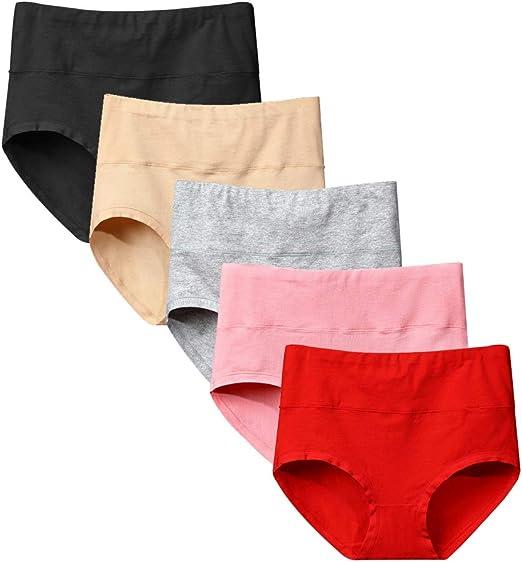 TINGSU 5 Pack Mujer Ropa Interior de Algodón de Cintura Alta ...