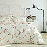 FADFAY 4Pcs Vintage Floral Duvet Cover 100% Cotton Bedding Set Flower Bed Sheet Queen