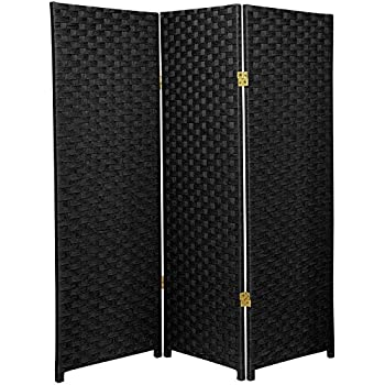 Oriental Furniture 4 Ft. Tall Woven Fiber Room Divider   Black   3 Panel
