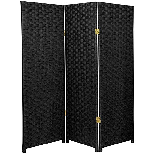 Oriental Furniture 4 ft. Tall Woven Fiber Room Divider - Black - 3 (Black Room Divider)