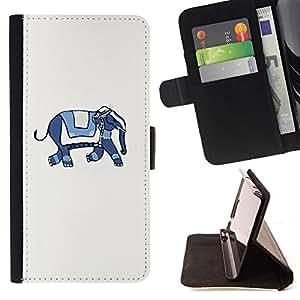 Jordan Colourful Shop - blue white artistic minimalist animal For Samsung ALPHA G850 - Leather Case Absorci???¡¯???€????€???????&bdqu