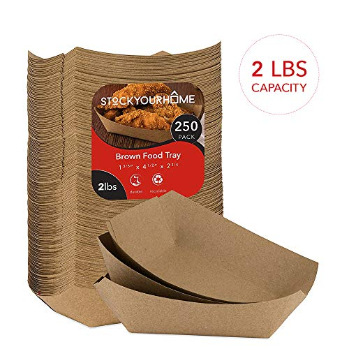Paper Food Boats (250 Pack) Disposable Brown Tray - Eco Friendly 2 Lb Brown Paper Food Trays - Serving Boats for Nachos, Tacos and Carnival - 2 Tray Paper