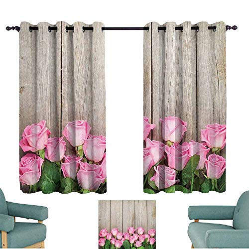 DILITECK Heat Insulation Curtain Roses Decorations Collection Pink Roses Over Wooden Timber Table Valentines Day Top View Picture Thermal Insulated Tie Up Curtain W55 xL45 Pink Green Beige